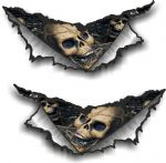 SMALL Pair Triangular Ripped Torn Metal & Skull Inside Motif Vinyl Car Sticker 75x35mm Each
